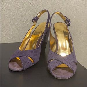 Aldo Faux Suede Purple Wedge Slingback Peep-toe
